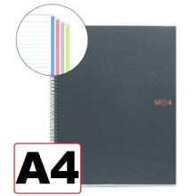 NOTEBOOK A4 RAYADO HORIZONT 4 COLORES T/NEGRO 160H